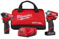 Milwaukee Tool - 2599-22 Stubby Auto Kit with Cordless Impact Wrench, Impact Driver, Batteries, Charger and Case